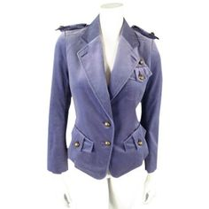 Pre-Owned Yves Saint Laurent by Tom Ford Size 6 Lavender Velvet... ($650) ❤ liked on Polyvore featuring outerwear, jackets, purple, lavender jacket, purple jacket, cropped military jackets, army jacket and military jacket
