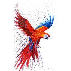 Parrot Macaw Amazon Bird Jungle Art Painting from Peruvian rainforest