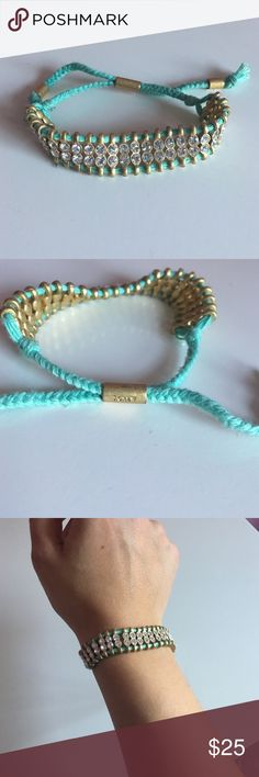 J. Crew Mint Drawstring Bracelet Mint drawstring bracelet with gold hardware and crystal gems. In great condition, no faults or missing gems. J. Crew Jewelry Bracelets