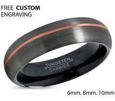 GUNMETAL Tungsten Ring Rose Gold Black Wedding by BellyssaJewelry