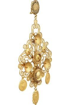 Dolce & Gabbana|Filigrana gold-plated chandelier clip earrings|NET-A-PORTER.COM