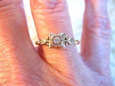 Art Deco 14K Gold Diamond Engagement Wedding Band by charmingellie, $205.00