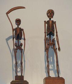 Antique / vintage American folk art. Mr. Rothloff, Athens, PA, Pair of Carved Skeletons, 1906; carved wood and varnished wood, 18 in.