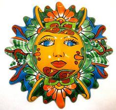 "sun face pottery | MEXICAN WALL HANGING TALAVERA POTTERY SUN FACE 12"""