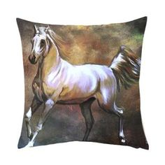 White Horse Printed Cushion Cover& Fillers