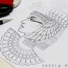 Cleopatra, design criado pra uma tattoo #cleopatra #desenho #rosto #cleopatratattoo #neotraditional #design #sketch #face #egyptian