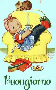 Mabel Lucie Attwell Strikes and Tea Break Girl Artist Postcard Pub Vintage, Vintage Children's Books, Vintage Greeting Cards, Vintage Postcards, Vintage Pictures, Vintage Images, She And Her Cat, Tea Art, Children's Book Illustration