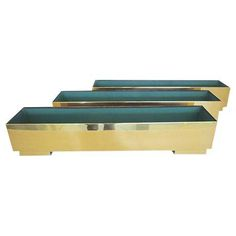 Image of Modernist Solid Brass Planters - Set of 3