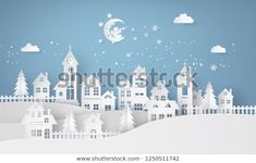 Immagini, foto stock e grafica vettoriale simili a tema Merry Christmas and Happy New Year. Illustration of Santa Claus on the sky coming to City ,paper art and digital craft style - 522579127