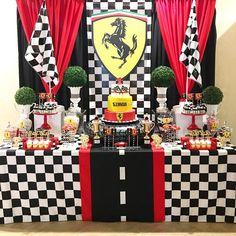Mini Party super fofa com tema Ferrari! Reposted from ( - Celebrating Simon's birthday at the Ferrari race track! Hot Wheels Birthday, Race Car Birthday, Race Car Party, Birthday Cake, Car Themed Parties, 10th Birthday Parties, Birthday Party Decorations, Ferrari Party, Ferrari F40