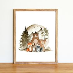 In need of an affordable way to decorate your little nursery? Going to a baby shower and in need of a quick, but awesome, gift? This woodland animal print comes in three of the most popular sizes for nursery wall art.  The print is an instant download that is ready for printing as soon as you Kids Room Wall Art, Tree Wall Art, Nursery Room Decor, Boys Room Decor, Nursery Wall Art, Boy Room, Woodland Nursery Prints, Woodland Animal Nursery, Printable Wall Art