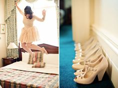 love all the girls shoes lines up!!   Playful Vintage Wedding: Lauren + Tony