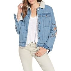 Women's Cupcakes & Cashmere Bronx Embroidered Denim Jacket (€88) ❤ liked on Polyvore featuring outerwear, jackets, denim, blue jackets, embroidery jackets, jean jackets, blue denim jacket and embroidered jacket