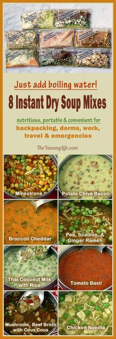 Just add boiling water for instant, nutritious soups perfect for backpacking, camping, dorms, office, travel, and emergencies.