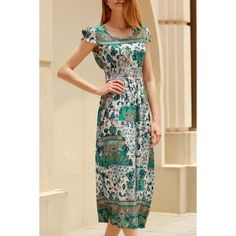15.08$  Buy here - http://diwfe.justgood.pw/go.php?t=180832101 - Trendy Cap Sleeve Ethnic Print Dress For Women 15.08$