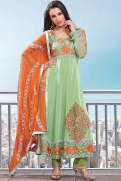 Sea Green Georgette Salwar Kameez