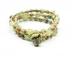 Prehnite, Safari Jasper, Czech picasso glass macrame, triple wrap bracelet, double wrap anklet, or single chain necklace by GemsdeVine on Etsy