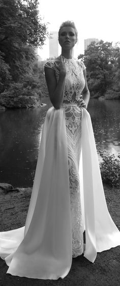 Lior Charchy NYC 2017 bridal cap sleeves full embellishment sheath wedding dress detachable skirt : Lior Charchy 2017 Wedding Dresses #weddingdress #wedding #weddingdresses