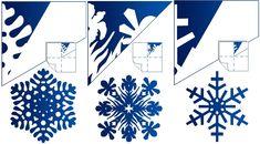 готовая снежинка и схема рисунка для ее вырезания, вариант 3
