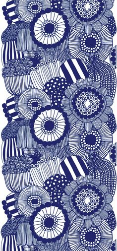 Siirtolapuutarha Panel blå från Marimekko - wow this is very 1970