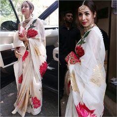 Malaika Arora Goes All aTraditional In Rohit Bal Gorgeous Saree At Her Fashion Stylist Wedding - HungryBoo Drape Sarees, Organza Saree, Trendy Sarees, Stylish Sarees, Indian Wedding Outfits, Indian Outfits, Indian Clothes, Hand Painted Sarees, Saree Blouse Neck Designs