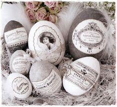 meine selbstgemachten Nostalgie-Ostereier     Ostern 2012         meine Oster-Deko 2012     gefülltes Nostalgie-Herz                  ...