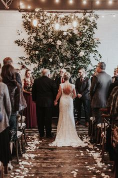 Union/Pine - Portland Wedding - Greenery backdrop wall
