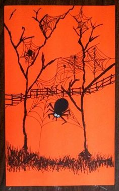 My students LOVE learning how to draw spider webs! A great way to practice Curved lines. Collage on a small and bigger black circles and sharpie marker the legs for a cool spider. Spooky fun silhouette! Art teacher Jennifer Lipsey Edwards