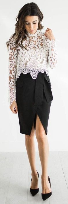 #street #style #blackandwhite #spring #inspiration | White Lace Top + Black Tailored Skirt | Hello Fashion
