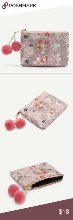 "Geisha Coin Purse Geisha Zip Coin Purse  Embroidered Print with coordinating Pom Poms Perfect for cards, cash and coins.   5.11"" Length 3.5"" Height  NWOT Boutique  Packaged with Care Bags"