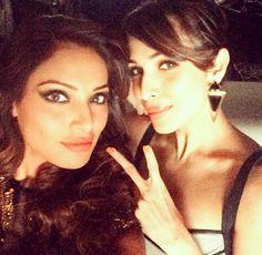 Bipasha Basu takes a selfie with Malaika Arora Khan at a promotional event.