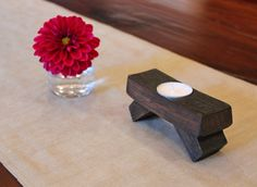 6 - Left over stave ideas? (Mini Wine Barrel Stave Candle Holder by DoveyDesign on Etsy, $12.00)