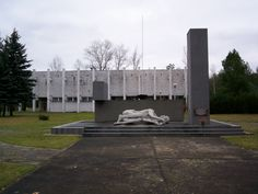 Memorial in front of Stalag Luft 3 Museum, Zagan, Poland