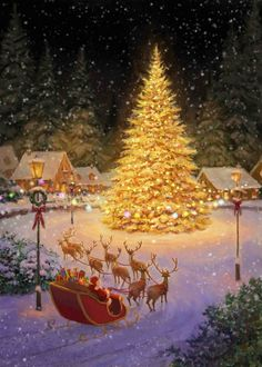 Christmas Scenery, Cozy Christmas, Christmas Pictures, Beautiful Christmas, Christmas Themes, Christmas Decorations, Xmas, Christmas Morning, Illustration Noel