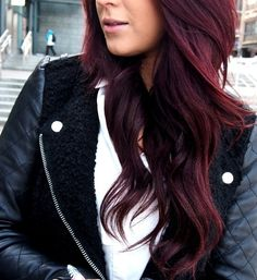 Gorgeous deep dark red hair. I'm seriously thinking about dying my hair this color...