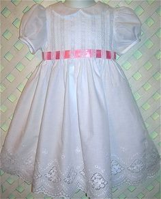 heirloom dresses | Girls Heirloom Dress: Swiss Eyelet Summer White with Silk Ribbon Sash ...