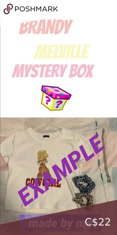 MINI Brandy Melville themed mystery box this is a super cute mystery box that includes 3-4 items that are all brand new and super cute - 3 accessories - 1 clothing item or 2 non brandy clothing items *second slide is an example* #y2k #brandymelville #bundles #mysterybox Brandy Melville Other Brandy Clothing, Clip C, Brandy Melville Stickers, Orange C, Blue Two Piece, Off Shoulder Romper, Mystery Box, Green Bag, All Brands