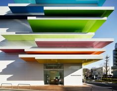 """""""rainbow mille-feuille."""" Sugamo Shinkin Bank in Shimura from Emmanuelle Moureaux, a Tokyo-based French architect who works with colors in stunning ways"""