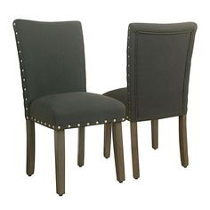 Charcoal Gray Parsons Chairs, Set of 2 | Kirklands