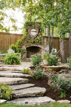 Grand Garden ideas small backyard,Garden design graph paper and Garden ideas veggies. Backyard Fireplace, Backyard Patio, Backyard Landscaping, Landscaping Ideas, Outdoor Fireplaces, Landscaping Software, Patio Ideas, Landscaping Borders, Fireplace Brick