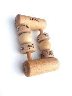 Hochet en bois personnalisé, Hochet Montessori, Jouet bébé en bois : Jeux, peluches, doudous par syabro