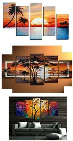 Landscape Painting, Extra large hand painted art paintings for home decoration. Large wall art, canvas painting for bedroom, dining room and living room, buy art online. 5 Piece Canvas Art, Large Canvas Art, Canvas Wall Art, Multiple Canvas Paintings, Canvas Paintings For Sale, Sunset Paintings, Hand Painting Art, Large Painting, Online Painting