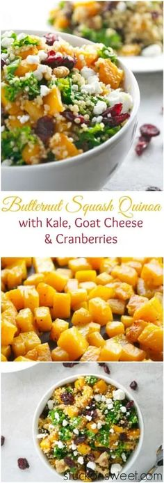 Butternut Squash Quinoa with Kale, Goat Cheese and Cranberries is a wonderful fall salad recipe. It's healthy and delicious! #stuckonsweet #recipe #salad #butternutsquash