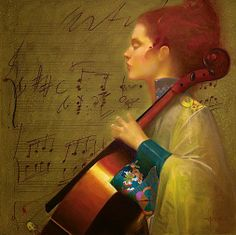 ♪ The Musical Arts ♪ music musician paintings - Félix Mas (Spanish, b. 1935)