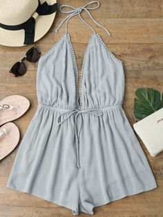 6a8b12cbe3 AZULINA Halter Plunge Beach Romper Deep V Neck Sexy Summer Short Jumpsuit  Women Playsuit Ladies Overalls 2018 New Girls Clothes