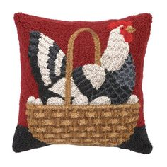 Hand-hooked wool pillow with a chicken motif.  Product: PillowConstruction Material: 100% Wool cover and polyester fi...