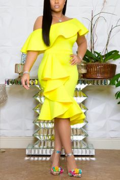 Fashion Wrapped Chest Lotus Leaf Collar Irregular Yellow Dress Latest African Fashion Dresses, Latest Fashion, Cheap Fashion, Fashion Online, Frack, Classy Dress, Dress Casual, African Dress, Ruffle Dress