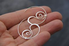Swirly sterling silver or copper hoop studs hoop by Keepandcherish