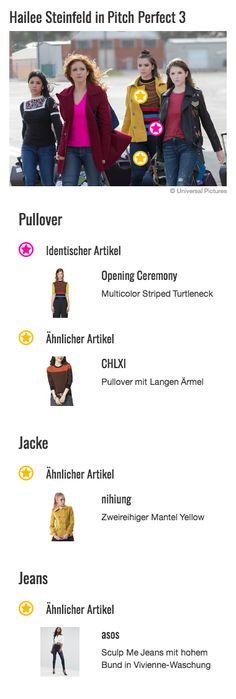 Im Look von Emily (Hailee Steinfeld) dreht sich alles um ihren coolen Pullover von Opening Ceremony. Bei diesem stylischen Teil weiß man gar nicht wo man zuerst hinsehen soll: Unten hat das Shirt blaue, schwarz und rote Streifen, oben ein feines Gitternetz-Muster in leicht grünlichem Gelb und schwarz und die Ärmel sind in einer Art hellem Limettengrün gehalten. Zu dem modernen Style des Oberteils trägt auch der kleine Stehkragen bei, der momentan super modern ist. Dieser ist in schwarz…