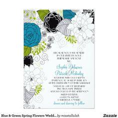 "Blue & Green Spring Flowers Wedding Invitations 5"" X 7"" Invitation Card"